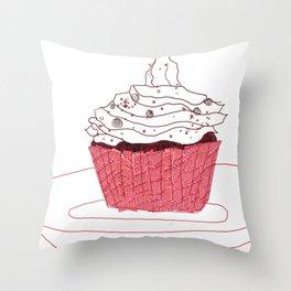 Red Velvet Vegan Cupcake  Throw Pillow