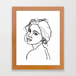 Woman's face line drawing - Adena Framed Art Print