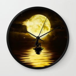 Beauty Mermaid Starry Night Wall Clock
