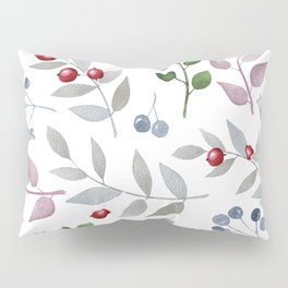 Watercolors leafs and red berries seamless pattern Pillow Sham