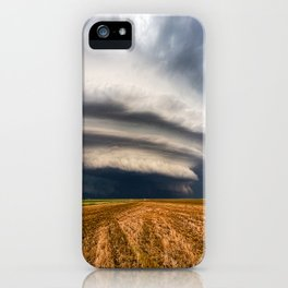 Vast - Supercell Thunderstorm Over Open Field in Kansas iPhone Case