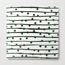 Modern black forest green polka dots stripes Metal Print