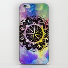 """Rose of the Winds""  WATERCOLOR MANDALA (HAND PAINTED) BY ILSE QUEZADA iPhone Skin"