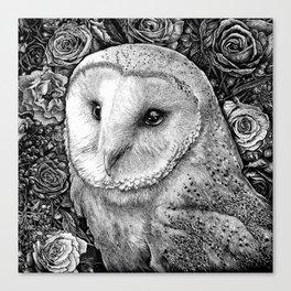 Barn Owl in Flowers Canvas Print