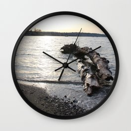Logs Kits Beach Sunset Wall Clock