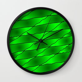 Slanting iridescent lines and rhombuses on green with intersection of glare. Wall Clock