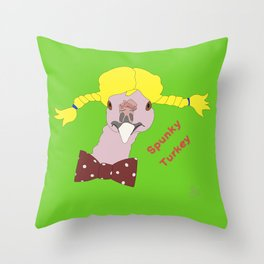 Spunky Turkey Yellow Hair GB TX Throw Pillow