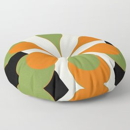 Mid-Century Modern Art 1.4 - Green & Orange Flower Floor Pillow