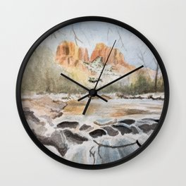 Sedona, Arizona Cathedral Rock River Reflections in the Winter Watercolor Painting Wall Clock