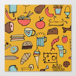 Food Frenzy yellow Canvas Print