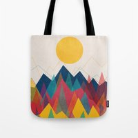 mountain Tote Bags featuring Uphill Battle by Picomodi