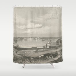 Vintage Pictorial Map of Louisville KY (1854) Shower Curtain