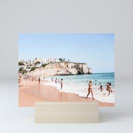 Crowded beach in Lagos, Portugal   Travel photography   Seaside photo print   Ocean wall art Mini Art Print