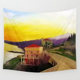 Coast of Sicily and Mount Etna springtime landscape painting by Csontváry Kosztka Tivadar Wall Tapestry