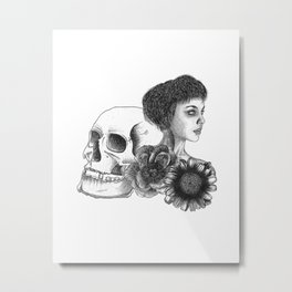 The Girl With A Skull And Flowers Metal Print