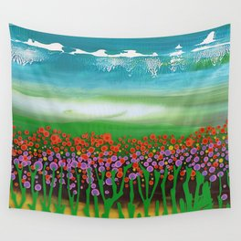 The meadow - A landscape in the background a blue sky and wildflowers Wall Tapestry