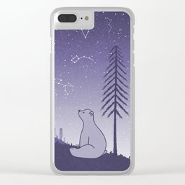 Bear and Constllations bule Clear iPhone Case