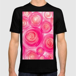 Pink Red Garden Rose Watercolor Acrylic Collage Pattern Design Painting T-shirt