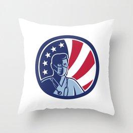 Male Nurse Wearing Surgical Mask USA Flag Mascot Throw Pillow