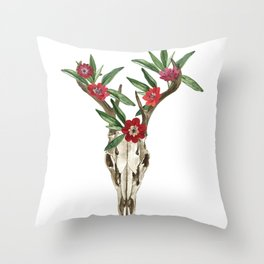 Bohemian deer skull and antlers with flowers Throw Pillow