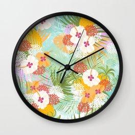 Tropical bouquet pattern Wall Clock