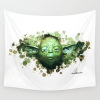 yoda Wall Tapestries featuring Yoda by Rene Alberto