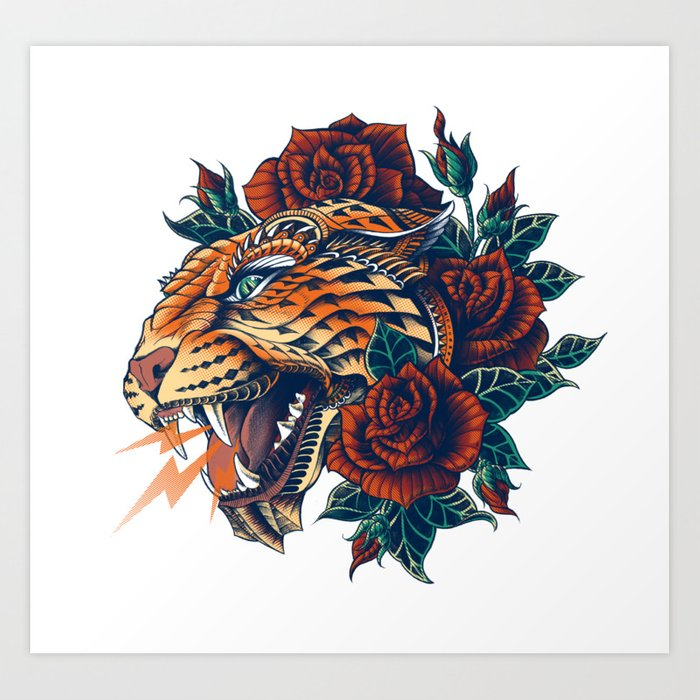 Ornate Leopard (Color Version) Art Print