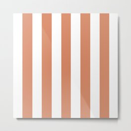 Copper (Crayola) pink - solid color - white vertical lines pattern Metal Print