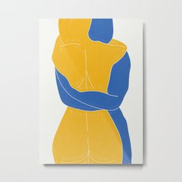 Lovers Nude Blue and Yellow- Minimal Line Drawing  Metal Print