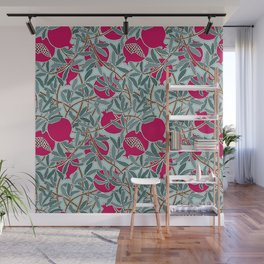 Pomegranates, Fruit, Leaves, Branches in Teals and Fuchsia Wall Mural