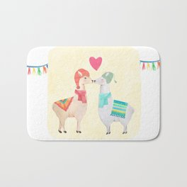 Llamas In Love Bath Mat