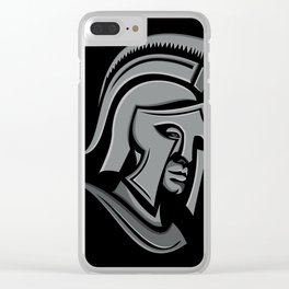 Spartan Warrior Head Metallic Icon Clear iPhone Case