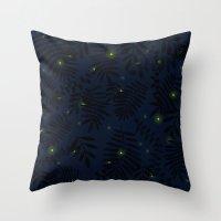 fireflies Throw Pillows featuring Fireflies by Helena's universe