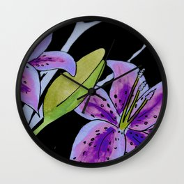 Purple tie dye flower Wall Clock