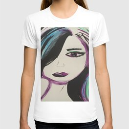 Colorful Girl. Abstract Girl Purple Green.Pop Art by Jodilynpaintings. Figurative Abstract Pop Art. T-shirt