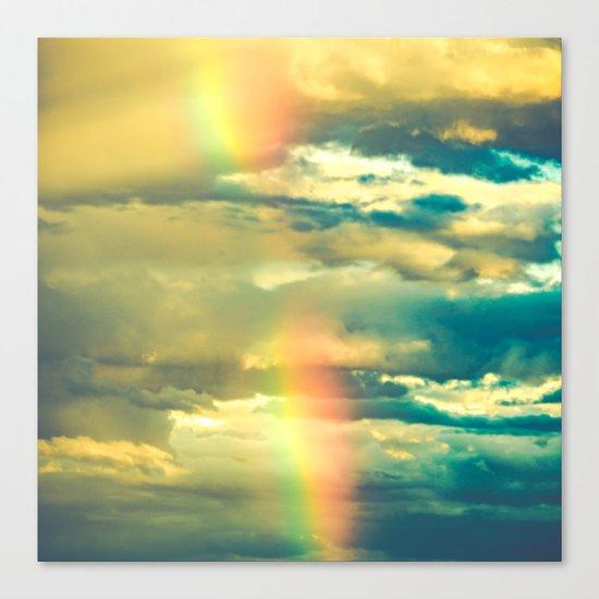 Rainbow Blue Sky Clouds Canvas Print