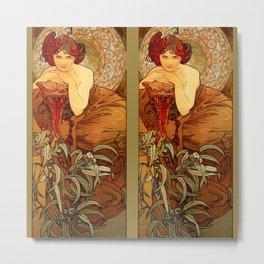 "Alphonse Mucha ""The Precious Stones Series: Emerald"" Metal Print"