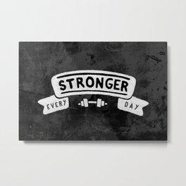 Stronger Every Day (dumbbell, black & white) Metal Print