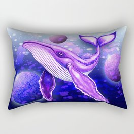 Cyber Whale on Ultra Violet Deep Space Ocean Rectangular Pillow