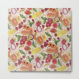 Ready to Eat - Fruit Pattern in White Metal Print