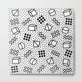 Abstract Memphis Style Pattern Black and White 2 Metal Print
