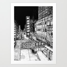 Mong Kok Nights (B&W) Art Print