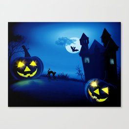 Background with pumpkins in Halloween party Canvas Print