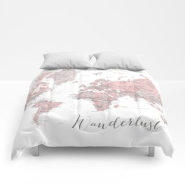 Wanderlust - Dusty pink and grey watercolor world map, detailed Comforters