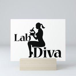 Lab Tech Diva Scientist Gift Girl Silhouette Mini Art Print