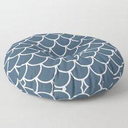 Dusky Blue Fish Scales Pattern Floor Pillow