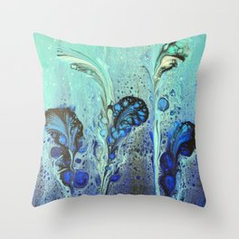 Seaweed Garden with Blue and Aqua Seafoam Bubbles Throw Pillow