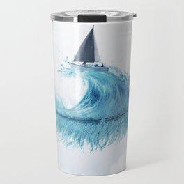 Water Feather • Blue Feather (horizontal) Travel Mug