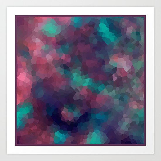 Abstract pattern blue raspberry and turquoise crystals . Art Print