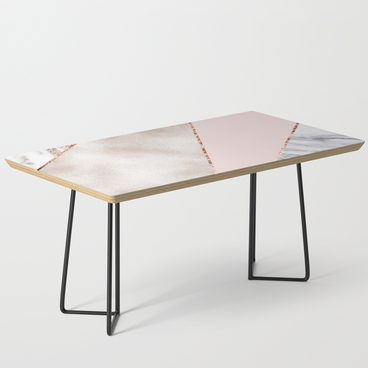 Spliced Mixed Rose Gold Marble Coffee Table By Marbleco Society6